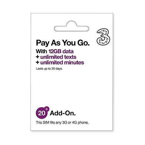 Three Pay As You Go SIM 3 12 GB XXXX-Large