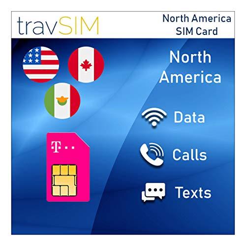 travSIM T-Mobile Prepaid SIM-Karte USA, Kanada & Mexiko - 50GB US - 5GB CA & MX - 4G / LTE Daten, Unbegrenzte Nationale Sprachanrufe & SMS - Gültig für 15 Tage