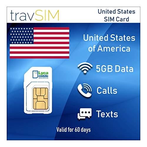 travSIM Lycamobile Prepaid USA (Inkl Hawaii & Puerto Rico) SIM-Karte – 5GB Mobile Daten 3G / 4G / LTE, Unbegrenzte Nationale & Internationale Anrufe + Text - Gültig für 60 Tage