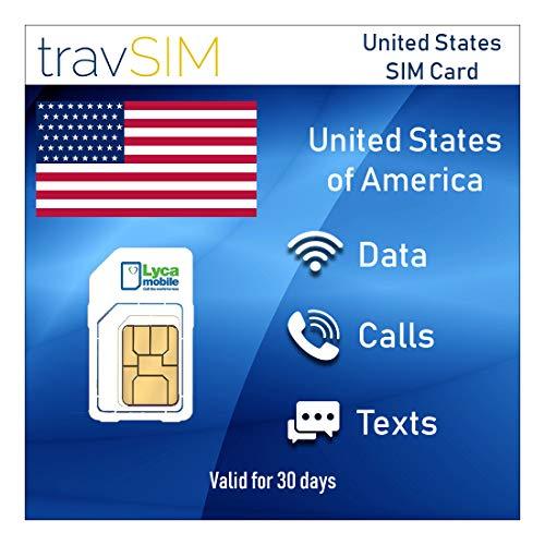 travSIM Lycamobile Prepaid USA SIM-Karte (Inkl Hawaii & Puerto Rico) - Unbegrenzte* Mobile Daten 3G / 4G / LTE, Unbegrenzte Nationale & Internationale Telefonie + Text - gültig für 30 Tage