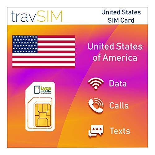 travSIM - Lycamobile USA SIM-Karte für 60 Tage - 5GB 3G 4G LTE Mobile Data - United States Lycamobile US SIM-Karte (Unbegrenzte lokale Anrufe & Texte, unbegrenzte Internationale Anrufe in 75+ Länder)