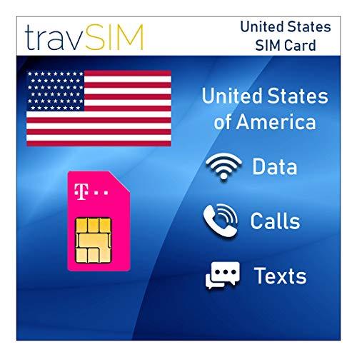 travSIM T-Mobile Prepaid USA SIM-Karte - 50GB Mobiles Internet, Unbegrenzt Gespräche &Texts für Die US - Hotspot Erlaubt - 4G LTE für 15 Tage