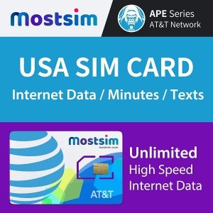 USA SIM Karte Unlimited high speed, von mostsim